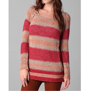 Free People Striped Desert Moon Loose Knit Sweater